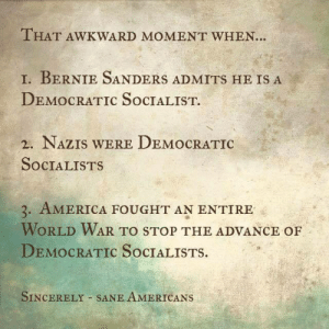 "America, Bernie Sanders, and Desperate: THAT AWKWARD MOMENT WHEN..  1, BERNIE SANDERS ADMITS HE IS A  DEMOCRATIC SoCIALIST.  2. NAZIS WERE DEMOCRATIC  SOCIALISTS  3. AMERICA FOUGHT AN ENTIRE  WORLD WAR TO STOP THE ADVANCE OF  DEMOCRATIC SoCIALISTS.  SINCERELY SANE AMERICANS logmeindammit:  c-bassmeow:  LMAOOOOOOOOOOOO HAHAHAHAHAHAHHAHAHA OMG OMG OMG I CANT  conservatives are so desperate omg   My favorite liberal rebuttals are when they have no rebuttal so they just post dumb gifs.  Like at least try.    If you are insinuating that I have to try hard to debunk a claim that a Jewish man is going to be the next hitler than you are the most cretinous cretin Ive come across on this website and Ive come across a lot. The philosophical roots of democratic socialism is based on far more noble principles than hitlers national socialism which is different. If conservatives are so stupid they associate anything that has the word socialism with Hitler than maybe you should back Bernie since he wants free public colleges and y'all clearly need more education. The irony in this whole debacle is that Donald Trump on your side is actually more ideologically aligned with Hitler since it is not Bernie but Trump , who like Hitler, is blaming all of our economic and societal ills on latinos, immigrants, and muslims- using the same tactics as Hitler who also blamed certain minorities for Germany's downfall and who like Trump wanted to make his country ""great again"". Furthermore, you clearly don't know anything about history or political science since Hitler's party is considered a far right party. Sanders, and i hate how i have to spell this out for you, is not far right. Lastly, I will conclude with a gif."