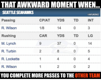 Russell Wilson doing his best Andy Dalton impression...  #Seahawks Nation #Packers Nation: THAT AWKWARD MOMENT WHEN...  SEATTLE SEAHAWKS  @NFLMEMEZ  INT  CPIAT  YDS  TD  Passing  R. Wilson  14  1/8  Rushing  CAR  LG  YDS  TD  M. Lynch  14  37  R. Turbin  R. Lockette  R. Wilson  YOU COMPLETE MORE PASSES TO THE OTHER TEAM Russell Wilson doing his best Andy Dalton impression...  #Seahawks Nation #Packers Nation