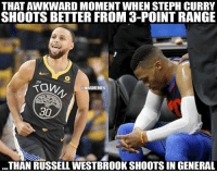 Nba, Russell Westbrook, and Awkward: THAT AWKWARD MOMENT WHEN STEPH CURRY  SHOOTS BETTER FROM 3-POINT RANGE  on..  @NBAMEMES  30  THAN RUSSELL WESTBROOK SHOOTS IN GENERAL 🤦🏻‍♂️🤦🏻‍♂️🤦🏻‍♂️🤦🏻‍♂️