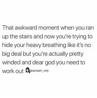 (via unknown): That awkward moment when you ran  up the stairs and now you're trying to  hide your heavy breathing like it's no  big deal but you're actually pretty  winded and dear god you need to  work out @sarcasm_only (via unknown)