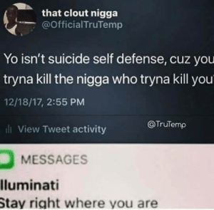 Memes, Yo, and Suicide: that clout nigga  @Official TruTemp  Yo isn't suicide self defense, cuz you  tryna kill the nigga who tryna kill you  12/18/17, 2:55 PM  li View Tweet activity  @Trulemρ  MESSAGES  lluminati  Stay right where you are This man is woke via /r/memes https://ift.tt/2pojq4T