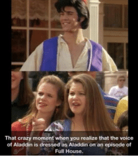 Aladdin, Crazy, and Memes: That crazy moment when you realize that the voice  of Aladdin is dressed as Aladdin on an episode of  Full House. -Iceprincess