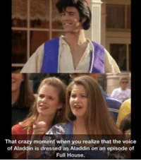 Aladdin, Crazy, and Memes: That crazy moment when you realize that the voice  of Aladdin is dressed as Aladdin on an episode of  Full House.