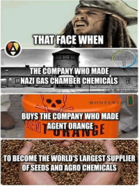 Memes, Orange, and Circles: THAT FACE WHEN  AVER  THE COMPANY WHO MADE  NAZI GAS CHAMBER CHEMICALS  MON SANTO  BUYS THE COMPANY WHO MADE  AGENT ORANGE  TO BECOME THE WORLDSLARGESTSUPPLIER  OF SEEDS AND AGRO CHEMICALS Civilization is merely circling the drain at this point.  #PJNM