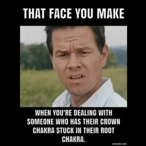 When dealing with someone who has their crown chakra stuck in their root chakra #chakras #reiki: THAT FACE YOU MAKE  WHEN YOU'RE DEALING WITH  SOMEONE WHO HAS THEIR CROWN  CHAKRA STUCK IN THEIR ROOT  CHAKRA.  mematic.net When dealing with someone who has their crown chakra stuck in their root chakra #chakras #reiki