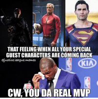 Jay, Memes, and Superman: THAT FEELING WHEN ALL YOUR SPECIAL  GUESTCHARACTERS ARE COMING BACK  @justice league memes  KIA  CW YOU DA REAL MVP Deathstroke is coming back for the Arrow finale, Jay is coming back for the Flash finale, and Superman is coming back for the Supergirl finale!!!🙌🏾🙌🏾🔥🔥 Pic via: @justice.league.memes deathstroke sladewilson manubennett arrow greenarrow oliverqueen stephenamell jaygarrick flash johnwesleyshipp theflash flashpoint barryallen grantgustin superman clarkkent tylerhoechlin supergirl melissabenoist justiceleague realmvp kevindurant