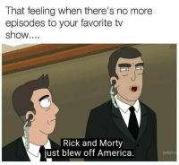 America, Rick and Morty, and That Feeling When: That feeling when there's no more  episodes to your favorite tv  show....  Rick and Morty  just blew off America.  adult s