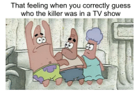 Fucking, Guess, and That Feeling When: That feeling when you correctly guess  who the killer was in a TV show FUCKING CALLED IT!