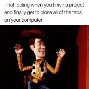Freedom 🙌🙌: That feeling when you finish a project  and finally get to close all of the tabs  on your computer Freedom 🙌🙌