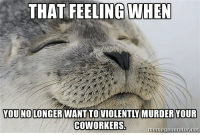 Bloods, Pressure, and Blood Pressure: THAT FEELING WHEN  YOU NO LONGER WANTTOVIOLENTLY MURDER YOUR  CO WORKERS.  meme generator net The Lowering of the Blood Pressure...