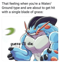 Guess Ill Die: That feeling when you're a Water/  Ground type and are about to get hit  with a single blade of grass:  guess ill die