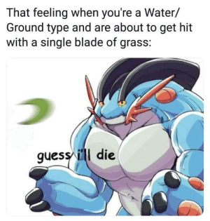 Blade, Dank, and Memes: That feeling when you're a Water/  Ground type and are about to get hit  with a single blade of grass:  guess ill die Of course by Wanted73 MORE MEMES