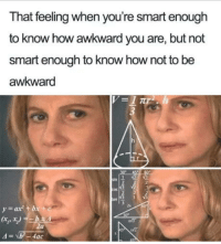 True true: That feeling when you're smart enough  to know how awkward you are, but not  smart enough to know how not to be  awkward  2s  ax + bx  ts True true
