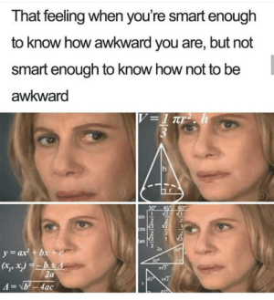 Meirl: That feeling when you're smart enough  to know how awkward you are, but not  smart enough to know how not to be  awkward  V =1 rr2 . h  3  30  45  60  2  1  sin  V2  COS  V3  an  y=ax + bx +c  60  30  XV3  2a  45 S  4=\b-4ac Meirl