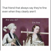 Funny, Lol, and Friend: That friend that always say they're fine  even when they clearly aren't  Are you ok?  I'm fine Tag this friend lol