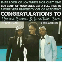THAT LOOK OF JOY WHEN NOT ONLY ONE  BUT BOTH OF YOUR SONS GET A FULL RIDE TO  A FOUR YEAR UNIVERSITY OFF OF ACADEMICS  CONGRATULATIONS TO  MONICA ECHous 12 TWIN Bouts  FB/BLACKSBELIKE1  IG-@BLACKSBELIKE 👏👏👏👏👏👏👏👏👏👌👌👌👌👌