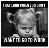 Memes, Work, and Time: THAT LOOK WHEN YOU DON'T  WANT TO GO TO WORK It's that time of the week again! 😂😂😂