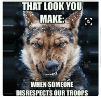 Watch your mouth. I'll show you a protest.: THAT LOOK YOU  MAKE:  CARED WORLD  WHEN SOMEONE  DISRESPECTS OURTROOPS Watch your mouth. I'll show you a protest.