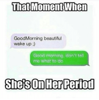 Beautiful, Memes, and Period: That Moment When  Good Morning beautiful  wake up  Good morning, don't tell  me what to do  Shes On Her Period Lmaoo right