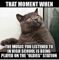 "Music Meme: THAT MOMENT WHEN  THE MUSIC YOULISTENED TO  INHIGHSCHOOLIS BEING  PLAYED ON THE ""OLDIES"" STATION"