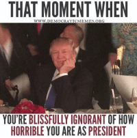 Trump is blissfully ignorant of just how horrible he is at being POTUS!  Read more: www.democraticmemes.org: THAT MOMENT WHEN  WWW. DEMOCRATIC MEMES ORG  YOU'RE BLISSFULLY IGNORANT OF HOW  HORRIBLE YOU ARE AS PRESIDENT Trump is blissfully ignorant of just how horrible he is at being POTUS!  Read more: www.democraticmemes.org