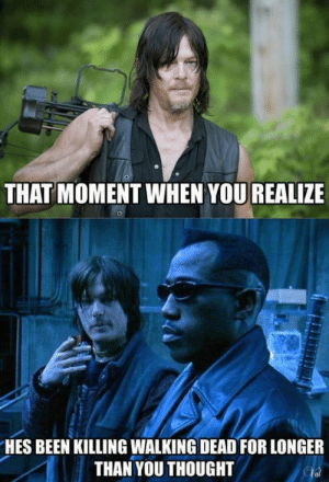Meme, Walking Dead, and Thought: THAT MOMENT WHEN YOU REALIZE  HES BEEN KILLING WALKING DEAD FOR LONGER  THAN YOU THOUGHT Daryl walking dead meme