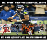 Jamaal Charles, Branden Oliver, Ronnie Hillman, Ben Tate = All RB1s: THAT MOMENT WHEN YOU REALIZE RUSSELL WILSON  CONFLMEMEZ  HAS MORE RUSHING YARDS THAN THESE FOUR RBS Jamaal Charles, Branden Oliver, Ronnie Hillman, Ben Tate = All RB1s