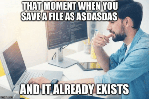 true story bro.: THAT MOMENT WHEN YOU  SAVEA FILE AS ASDASDAS  AND IT ALREADY EXISTS  imgfip.com true story bro.