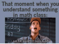 Alive, Memes, and Math: That moment when you  understand something  in math class:  omewo  iday  81  I AM THE SMARTEST MAN ALIVE!