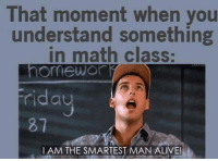 Alive, Memes, and Math: That moment when you  understand something  in math class:  omewor  idau  87  ay  IAM THE SMARTEST MAN ALIVE!