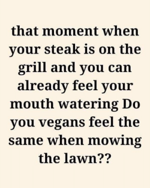 Memes, Asking, and 🤖: that moment when  your steak is on the  grill and you can  already feel your  mouth watering Do  you vegans feel the  same when mowing  the lawn?? RT @ForTheMen: Asking for a friend https://t.co/6OffKfSwtQ