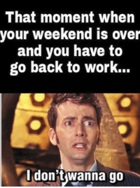 weekend is over: That moment when  your weekend is over  and you have to  go back to work.  don't wanna go