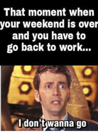 weekend is over: That moment when  your weekend is over  and you have to  go back to work..  don t wanna go