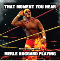 Memes, 🤖, and Moment: THAT MOMENT YOU HEAR  wehatepopcountry.com  MERLE HAGGARD PLAYING Who else misses Mighty Merle?