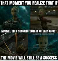 Memes, Marvel, and Marvelous: THAT MOMENT YOU REALIZE THAT IF  MARVEL ONLY SHOWED FOOTAGE OF BABY GROOT  DCINIARVEL COMICSIMONIES  THE MOVIE WILLSTILL BE A SUCCESS So true!! 😂😭😂😭 《J-VO》
