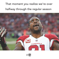 Memes, Cardinals, and 🤖: That moment you realize we're over  halfway through the regular season  NFL  CARDINALS  NFL That was fast. 😱
