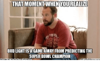 Meme, Nfl, and Book: THAT MOMENTWHEN YOU REALIZE  BUDLIGHTISAGAMEAWAY FROMPREDICTINGTHE  SUPERBOWL CHAMPION  What Brought BN: Face  book  OUMenne.com  com/NFL Memez Just One Game Away! Credit: Tim Fenniman  http://whatdoumeme.com/meme/frrfp4