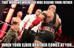 15 Hilarious WWE Memes That Perfectly Sum Up Everyday Situations: THAT MOMENTWHENNOU HIDE BEHIND YOUR FATHER  WHEN YOUR ELDER BROTHER COMES ATYOU, 15 Hilarious WWE Memes That Perfectly Sum Up Everyday Situations