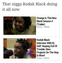 I hear he from a place called ugly corner: That nigga Kodak Black doing  it all now  Orange Is The New  NETFLIX  Black Season 4  (Trailer)  Views: 18808  Kodak Black  Interview With Dj  Self: Staying out of  Trouble, New  Projects on The Way  & More!  Views: 30932 I hear he from a place called ugly corner