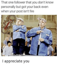 Fire, Memes, and Appreciate: That one follower that you don't know  personally but got your back even  when your post isn't fire  I appreciate you Thanks for having my back whoever you are ! via /r/memes http://bit.ly/2F0YhGT