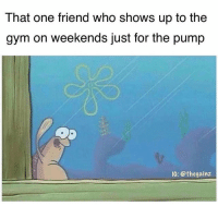 Fbf: That one friend who shows up to the  gym on weekends just for the pump  IG: @thegainz Fbf