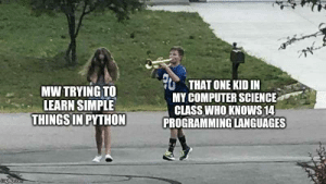 This is a true story: THAT ONE KID IN  MY COMPUTER SCIENCE  CLASS WHO KNOWS 14  PROGRAMMING LANGUAGES  MW TRYING TO  LEARN SIMPLE  THINGS IN PYTHON  imgflip.com This is a true story