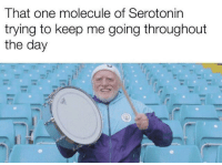 Serotonin, One, and Day: That one molecule of Serotonin  trying to keep me going throughout  the day yay serotonin!