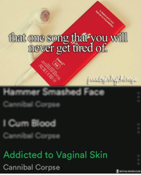 That one song, lol: that one song  that you will  never get tired Ol  Hammer Smashed Face  Cannibal Carps  I Cum Blood  Addicted to Vaginal Skin  Cannibal Corpse  METAL MEME COM That one song, lol