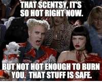 Stuff, Safe, and Hot: THAT  SCENTSYITs  SO HOT RIGHT NOW  BUT NOT HOT ENOUGH TO BURN  YOU: THAT STUFF IS SAFE Mugatu So Hot Right Now