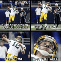 Aaron Rodgers is stealing the division from the Lions: THAT SEA NICE DIVISION  BE A SHAME  LEAD YOU HAVE THERE  D  RAN THE TABLE  IF SOMEONE Aaron Rodgers is stealing the division from the Lions