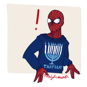 cataclysticosmonaut:  i decided to draw my comics jewish faves to celebrate hanukkah day one — peter parker  redbubble. : THAT SLIT  Cafplydrcamonaa cataclysticosmonaut:  i decided to draw my comics jewish faves to celebrate hanukkah day one — peter parker  redbubble.