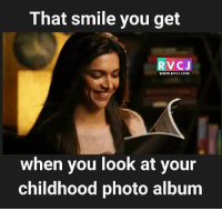 Memes, 🤖, and Album: That smile you get  V CJ  WWW.RVC J.COM  when you look at your  childhood photo album That smile.. rvcjinsta