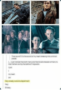 Memes, 🤖, and Hogwarts: That sound? It's the sound of my heart breaking into a million  pieces  l... I just noticed that both Harry and Neville are dressed similarly to  their fathers during the battie of Hogwarts,  just  my heart  OWE  Very sneaky costume department  Very  Sneaky. The costume department should have got more credit for this...