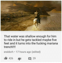 Fucking, Memes, and Water: That water was shallow enough for him  to ride in but he gets tackled maybe five  feet and it turns into the fucking mariana  trench!!!!  eraldorh 17 hours ago (edited)  ib 426  タ1  29 Where's the lie tho 😂😂 _ Sent in by: @msaudtariq